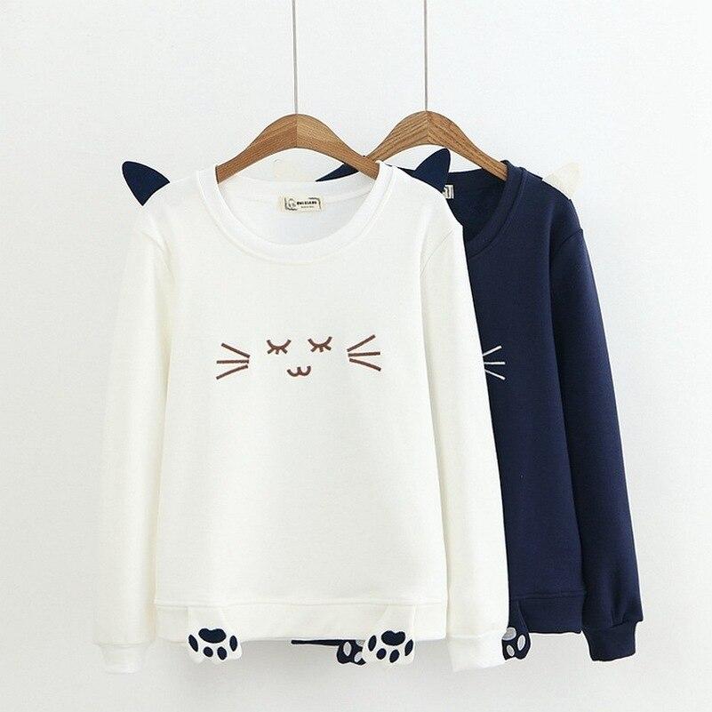 Cat Cute Hoodies Sweatshirts 2019 Women Casual Kawaii Harajuku Fashion Punk For Girls Clothing European Tops Korean