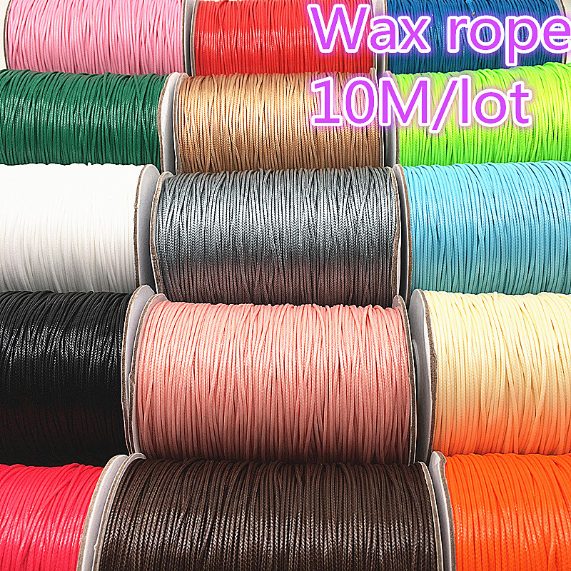 10M Dia 1.0mm Waxed Cotton Cord Waxed Thread Cord String Strap Necklace Rope Bead For Jewelry Making DIY Bracelet