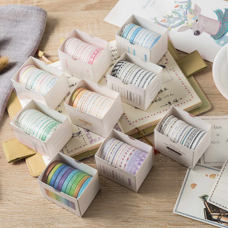 10Pcs/Set Kawaii Thin Adhesive Tape Cute Pattern Washi Tape Decor Masking Tape For Stickers Scrapbooking Diary Stationery Tape