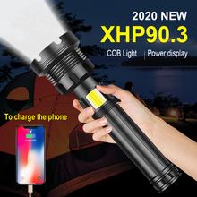400000 lumenów XHP90 3 najbardziej potężne latarka LED 18650 26650 akumulator latarki taktyczne XHP90 XHP70 XHP50 2 latarnia tanie tanio paweinuo CN (pochodzenie) Odporna na wstrząsy Ostre światło POWER BANK Do samoobrony Regulowany HS702A1 500 metrów
