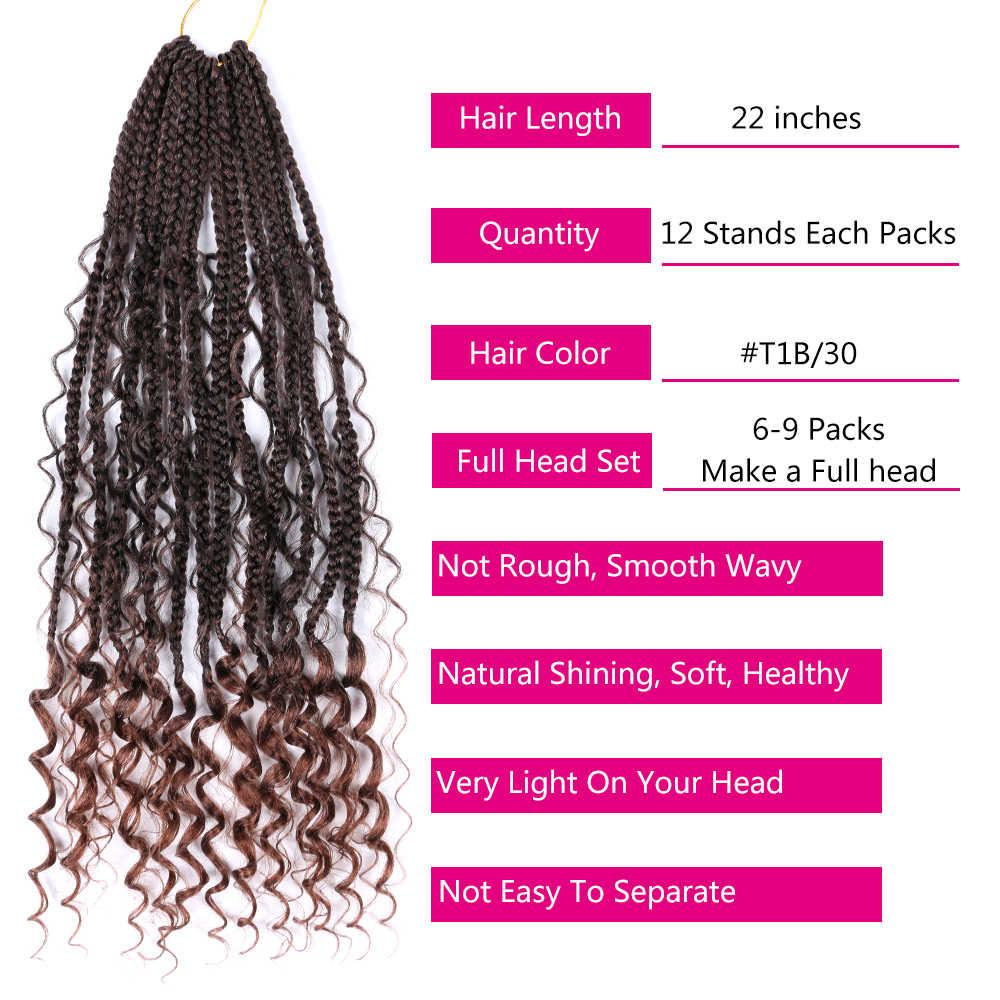 "Pelo Mtmei 22 ""12 Roots Goddess Box trenzas de ganchillo con caja Bohemia rizada extensiones de cabello trenzado Ombre cabello trenzado"