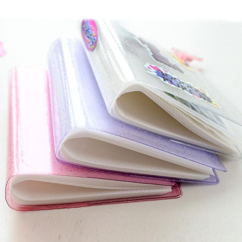 Bonito portatarjetas portátil para álbum de fotos, soporte para tarjetas, 64 fotos, bolsa de tarjeta de Color gelatina de negocios, bolsa de tarjeta de lentejuelas de 3 pulgadas