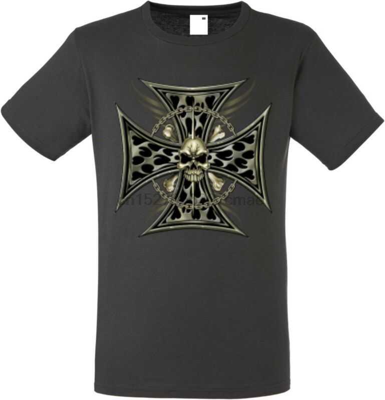 T Shirt IM Graphiteton MIT Einem Gothik-Biker Tattoomotiv Modell Scull Rantai