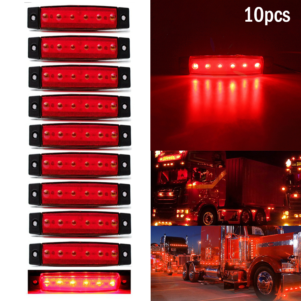 10pcs 24V 6 LED Car Truck Trailer Trailer Side Marker Indicators Light Clearence Lights Signal Lamps Warning Rear Side Light Red