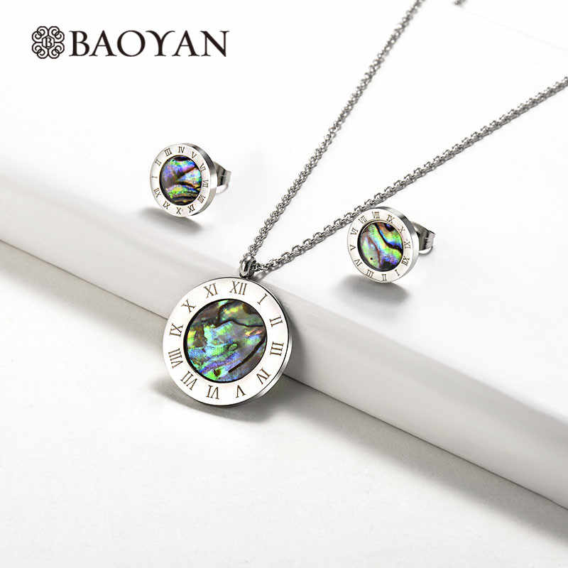 Baoyan Abalone Shell Jewelry Set Round Roman Numerals Stainless Steel Jewelry Sets Wholesale Brand Bridal Jewelry Sets For Women