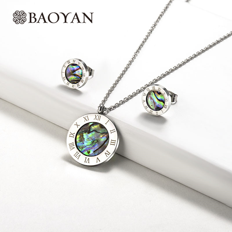 Baoyan Abalone Shell <font><b>Jewelry</b></font> <font><b>Set</b></font> Round Roman Numerals <font><b>Stainless</b></font> <font><b>Steel</b></font> <font><b>Jewelry</b></font> <font><b>Sets</b></font> Wholesale Brand Bridal <font><b>Jewelry</b></font> <font><b>Sets</b></font> <font><b>For</b></font> <font><b>Women</b></font> image
