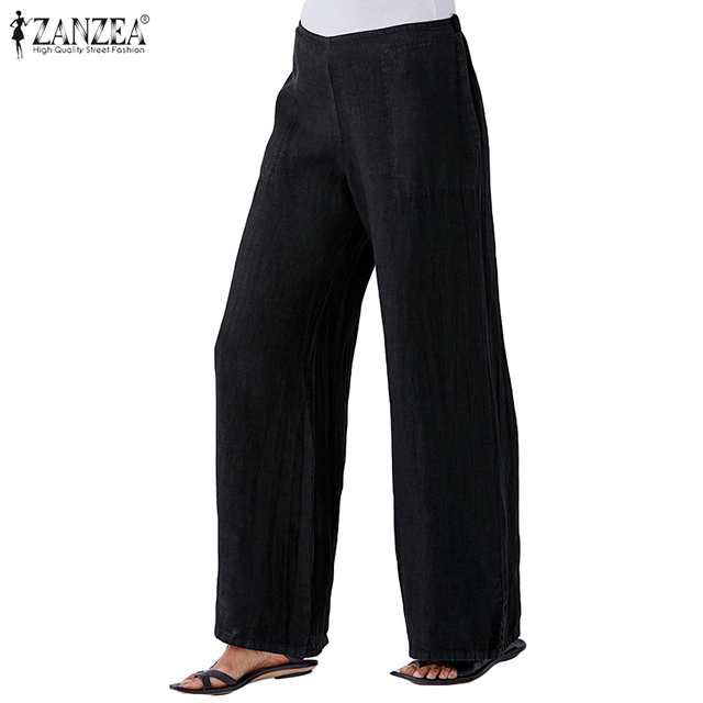 Elegant Lady Office Work Pants ZANZEA 2019 Fashion Women Wide Leg Pants Casual Loose Wide Leg Trousers Pockets Pantalones Mujer