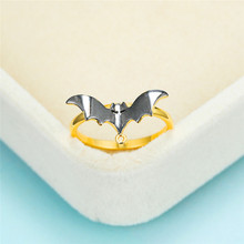 Unique Female Male White Crystal Ring Trendy Black Bat Gold Thin Rings For Women Men Personalized Halloween Party Small Ring trendy plated white gold environmental alloy narrow width crystal ring