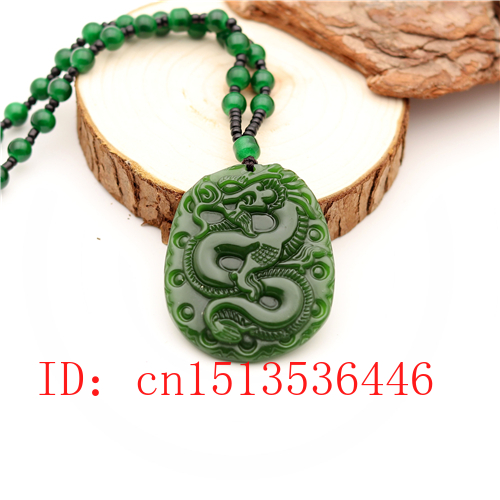 Carved Dragon Jade Pendant Natural Chinese Green Beads Necklace Charm Jadeite Jewellery Fashion Lucky Amulet Gifts For Men M04