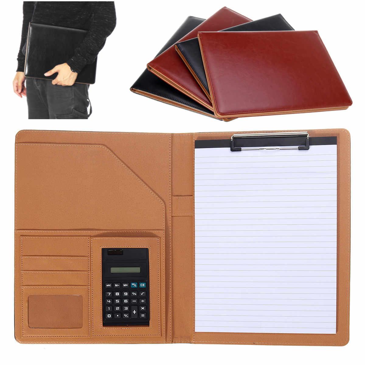 con calculadora y Cuaderno Recargable A4 DEZHI Carpeta portafolio A4 de Piel con Cremallera para conferencias