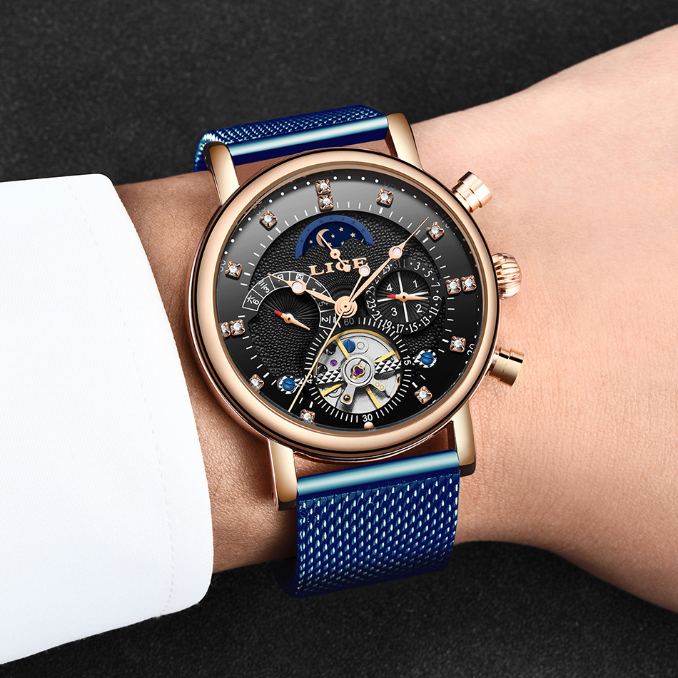 H21651485fa524dab8d36756b77d2475aQ LIGE Gift Mens Watches Brand Luxury Fashion Tourbillon Automatic Mechanical Watch Men Stainless Steel watch Relogio Masculino