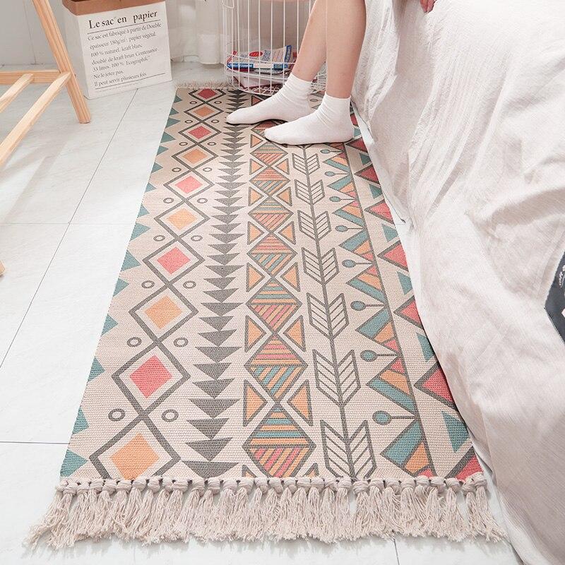 Coton lin tissé à la main rétro gland couverture Style bohème tapis tapis salon chambre chevet tapis tapis décor à la maison D20