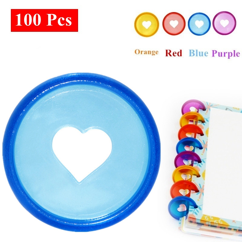 100 Pcs 28mm Candy Color Heart Disc Binder For Discbound Notebooks/Planner Diy DiscboundDiscs Loose Leaf Binding Rings LF19-308
