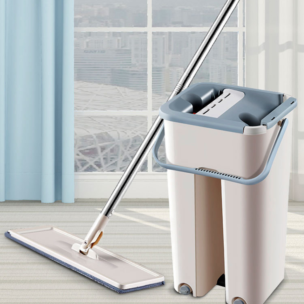 Magic Cleaning Mops Free Hand Spin Cleaning Microfiber Mop With Bucket Flat Squeeze Spray Mop Home Kitchen Floor Clean Tools 5