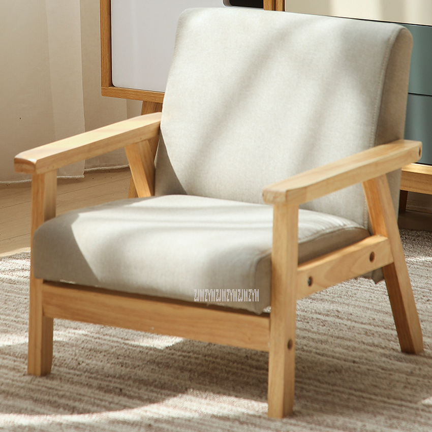 Children Sofa Girl Boy Sofa Chair Solid Wood Soft Fabric Seat Kindergarten Baby Learning Watching TV Leisure Single Sofa Chair