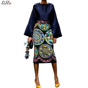 vintage printed long-sleeved mid-length skirt suit 2019 summer and autumn new fashion temperament silky fabric comfortable Flare