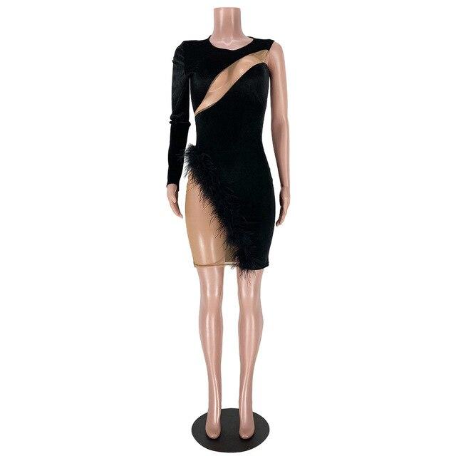 Long Sleeve Feather Mesh Bodycon Dress Dresses Fashion  VerYYu
