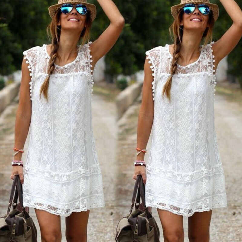 2019 Hot Sales Women Fashion Summer Short pure white Mini Dress Casual Sleeveless Party Cocktail Lace stitching Dress