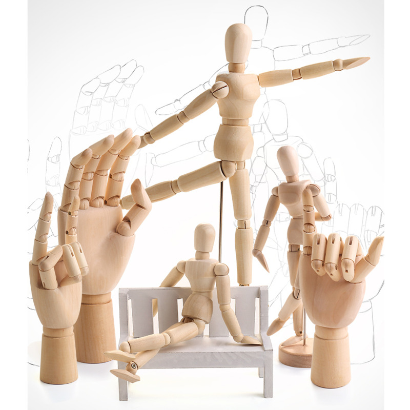 Desenho esboço modelo de manequim membros móveis de madeira mão corpo brinquedos de ação figuras decoração para casa artista modelos articulados boneca presentes