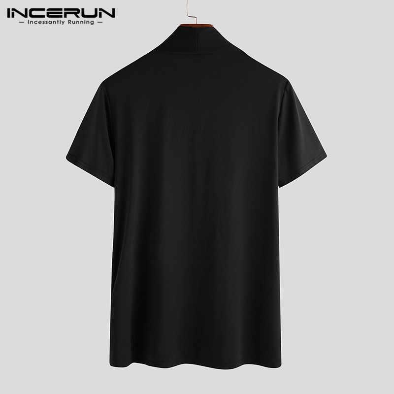 패치 워크 셔츠 INCERUN 패션 남성 캐주얼 솔리드 컬러 반소매 탑 남성 블라우스 코튼 캐주얼 슬림 피트 의류 S-5XL