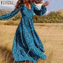 ZANZEA Vintage Chic étage longueur Robe femme bohème col en V Vestido 2021 printemps élégant fermeture éclair robes femmes Robe imprimée florale