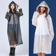 Las mujeres EVA impermeable engrosada impermeable capa de lluvia de las mujeres blanco negro Camping impermeable ropa impermeable traje de