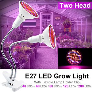 2-head LED Plant Grow Light Bulb E27 LED Full Spectrum EU/US for Lamp Room Dual Flower Seeds Tent Indoor Clip hydro Grow Box