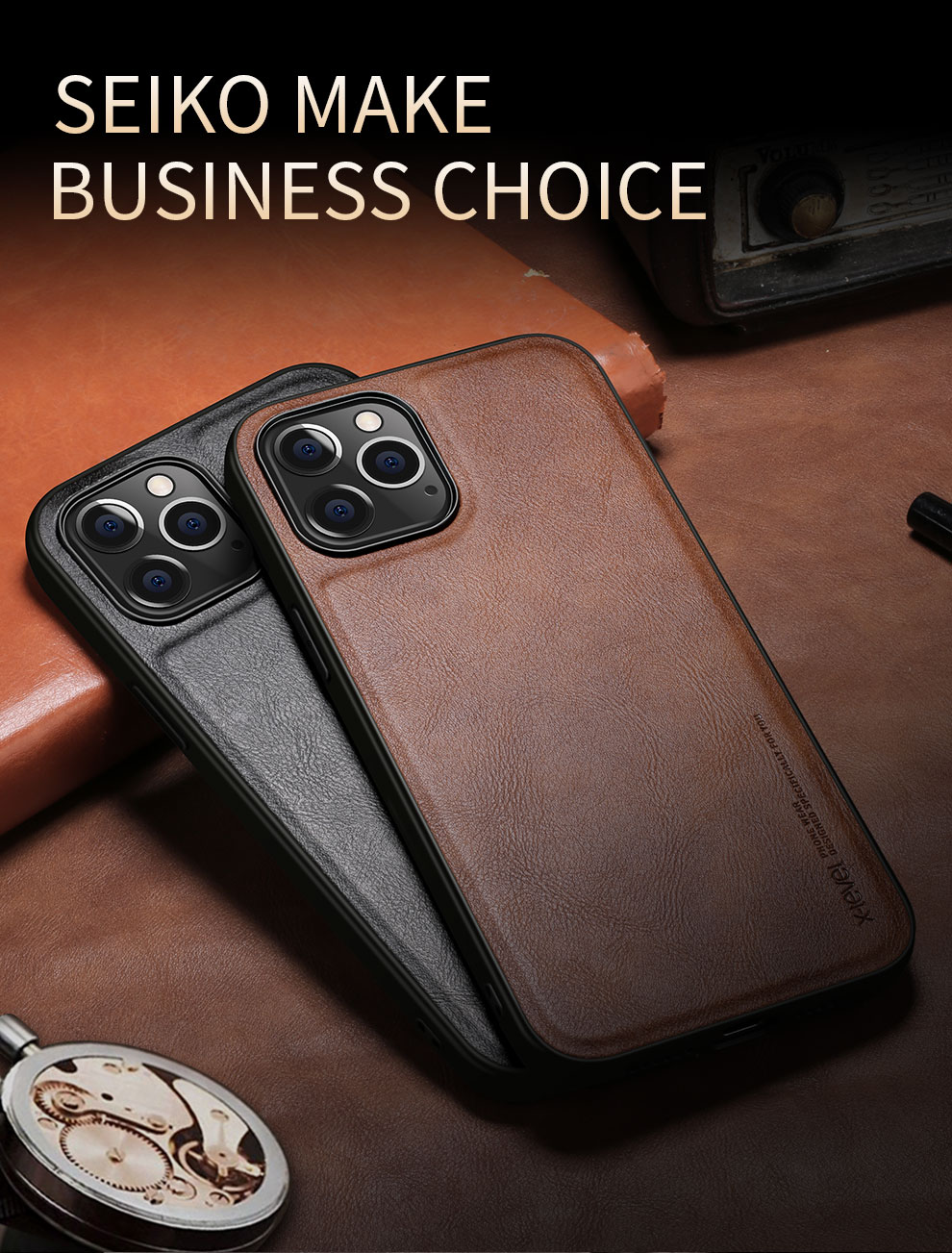 Shockproof Soft Silicone Edge Back Cover PU Leather Waterproof Case For iPhone 12 Pro MAx