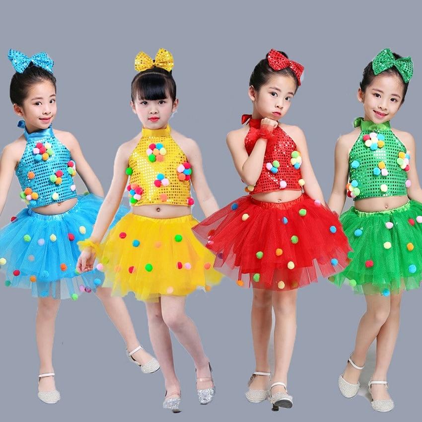 Primary Student School Uniform Kids Girls Tops+tutu Skirt Clothing Set Jazz Dance Choir Costumes Sequin Ballroom Performance