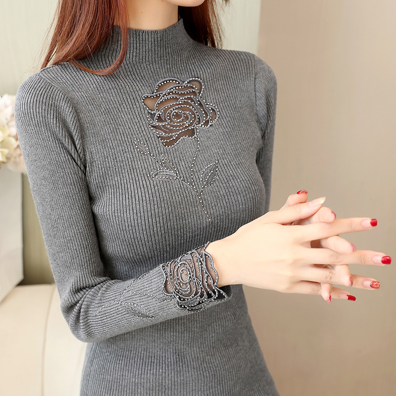 Patchwork Feminino Hollow Out Lace Turtleneck Knitted Sweater Pullover Slim Solid Pull Femme Jumper Women Autumn Winter 2019 New