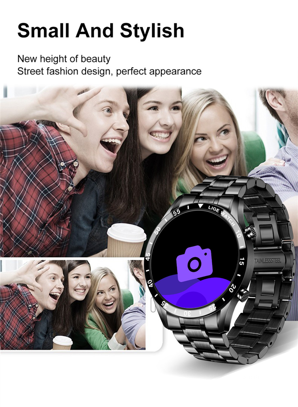H2165fb71d19d43a98a4c8576e38df484Q LIGE 2020 New Smart Watch Men Full Touch Screen Sports Fitness Watch IP67 Waterproof Bluetooth For Android ios smartwatch Mens