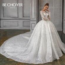 Luksusowe zroszony aplikacje koronkowa suknia ślubna BECHOYER N202 z długim rękawem suknia kaplica pociąg księżniczka suknia ślubna Vestido de Noiva