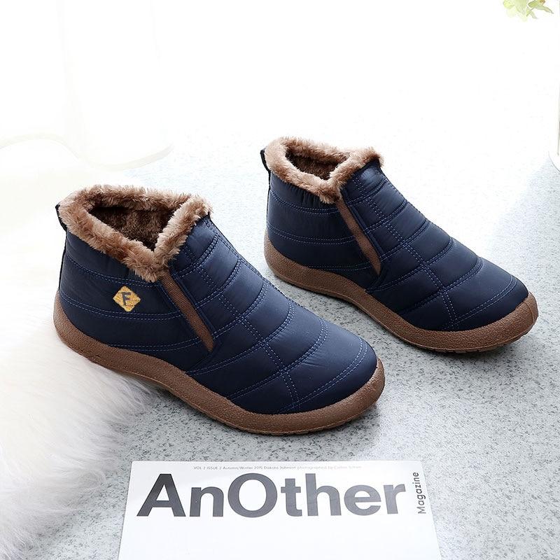 Discount Unisex 2019 New Winter Men Boots Ankle Snow Plush Shoes High Top Slip-on Warm Cotton Plus Size 36-47