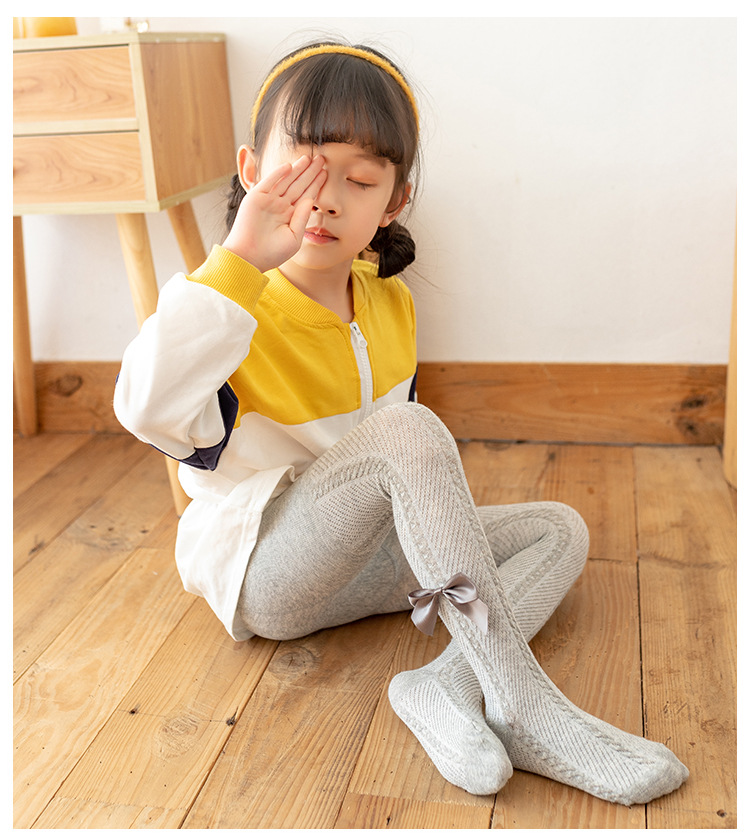 YWHUANSEN 0-10 Yrs Children Spring Autumn Winter Bowknot Tights Cotton Baby Girls Pantyhose Kids Infant Knitted Collant Tights 4