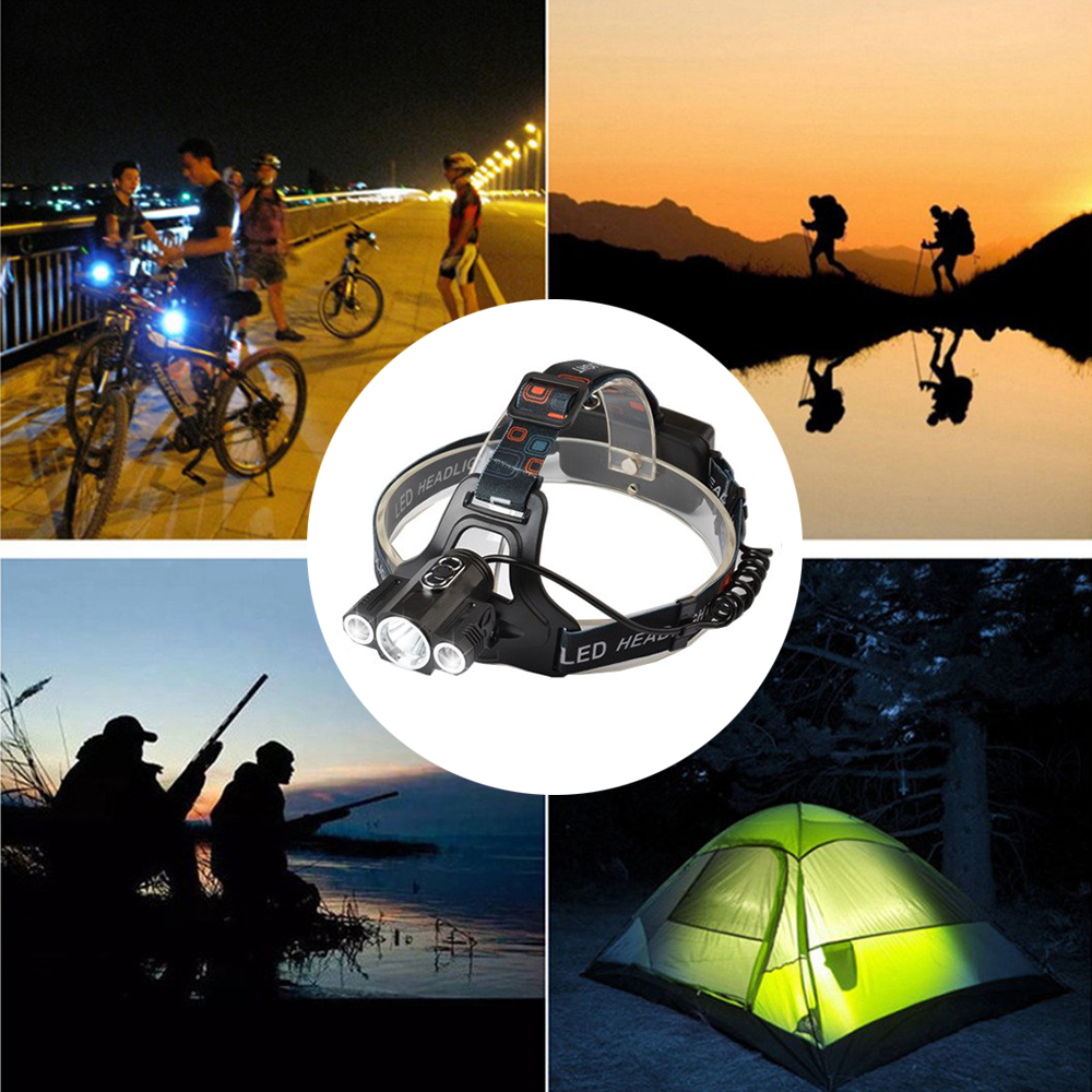 Купить с кэшбэком Super bright LED Headlamp 3 x T6 led lamp bead Waterproof led headlight 4 lighting modes camping lamp use 18650 battery