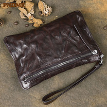Original retro genuine leather men's long zipper clutch bag fashion natural high quality first layer cowhide teens phone wallet