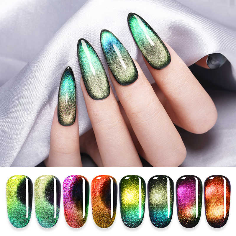 Lilycute 9D Aurora Magnetic Gel Nail Polish Chameleon Hijau Gel Varnish Cat Eye Nail Gel Rendam Off Uv Gel Varnish 5 Ml