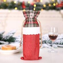 Рождественская бутылка вина чехол-сумочка с украшения для рождественской вечеринки для дома подарок на Рождество держатели для шампанского Рождественская Домашняя вечеринка настольные украшения