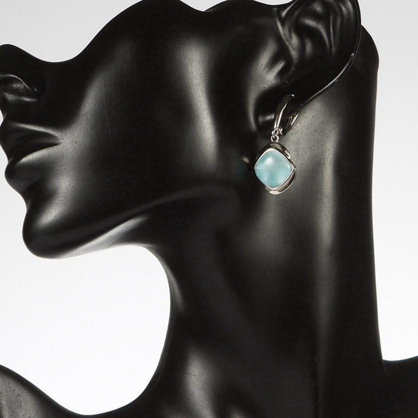 Eulonvan 925 argent sterling Larimar boucles d'oreilles en pierre naturelle cadeaux de noël pour les femmes bijoux et accessoires livraison directe S-3805 - 6