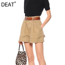 Shorts DEAT High-Waist Pocket Wide-Legs Summer New And Spring Button WL07104L Kahki-Color