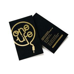Image 2 - Vàng giấy bạc dập tên thẻ tự do thiết kế tùy chỉnh chữ kinh doanh thẻ in chất lượng cao dày Đen giấy in
