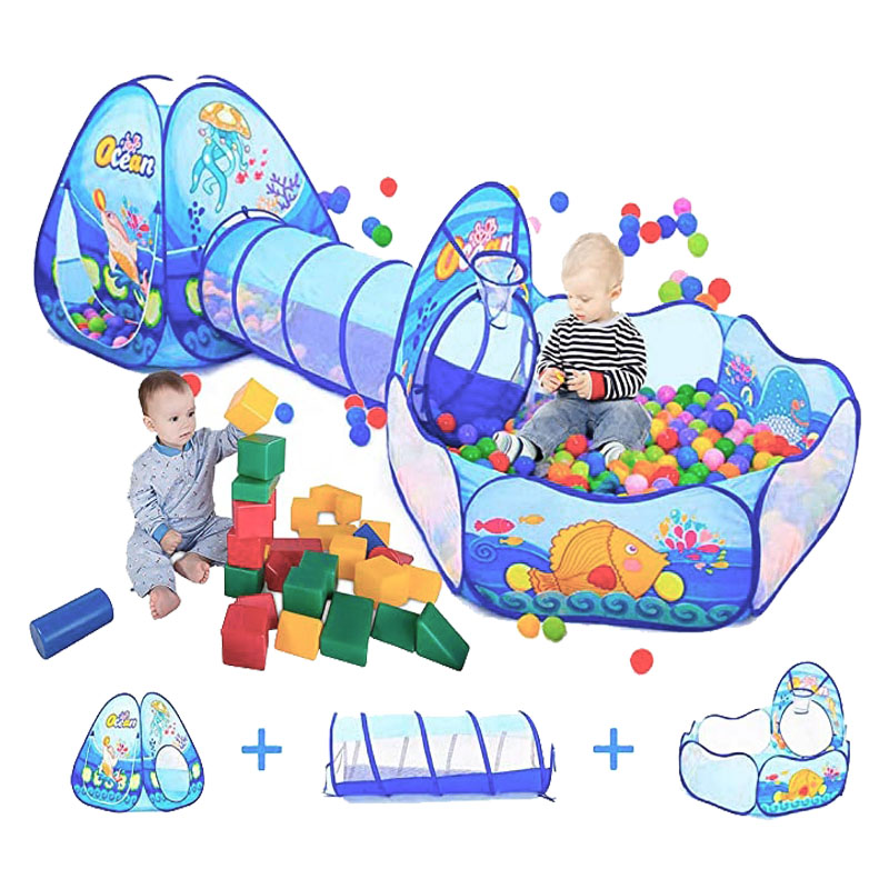Large Baby Playpen Dry Pool Children's Ball Pool with Children's Tent Crawling Tunnel Kids Balloon Basketball Ball Pit Hot Toys
