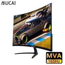 Mucai 24 polegada curvado computador monitor de computador desktop 144hz tela mva 165hz hd ultra fino jogo lcd display hdmi/dp