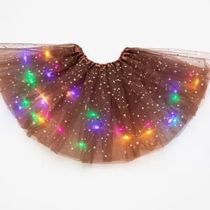 Skirt Dancewear Light-Party Fashion Glitter Sequin Princess Tutu Tulle Ballet Stars Girls