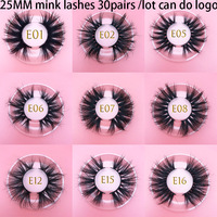 30pairs Wholesale 3D Mink Eyelashes MIKIWI 25mm hand made mink hair eyelash Soft Natural lashes Makeup 3d volume False Eyelashes