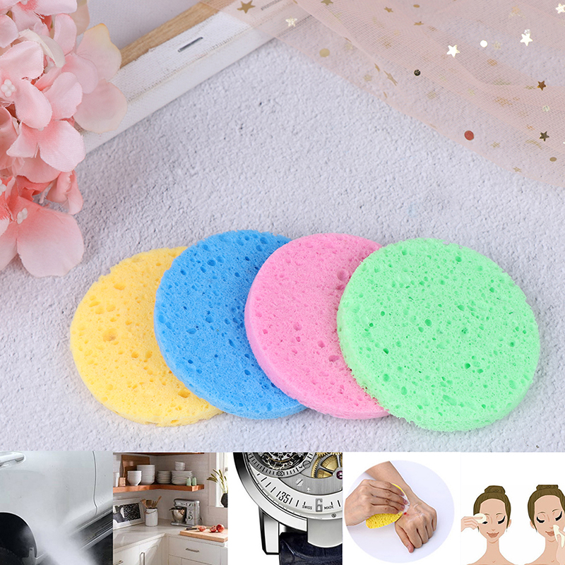 5pcs Face Washing Product Natural Wood Fiber Face Wash Cleansing Round Sponge Beauty Makeup Remover Tools Cleaning