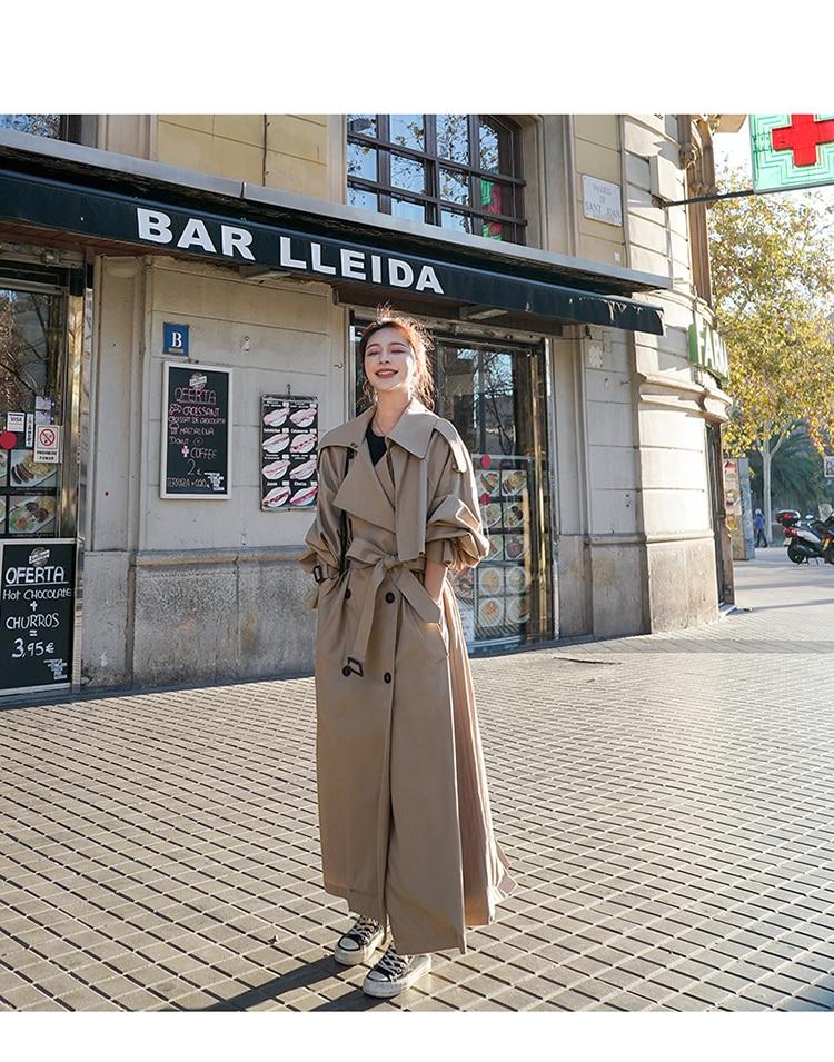 H21674ff6a8bc4d209db92f97915a4b8a8 Korean Style Loose Oversized X-Long Women's Trench Coat Double-Breasted Belted Lady Cloak Windbreaker Spring Fall Outerwear Grey