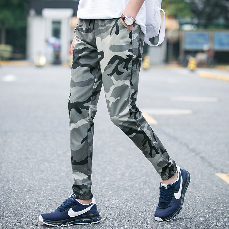 2018 Spring Clothing New Style Skinny Camouflage Pants Men's Ankle Banded Pants Sub-Students Sports Harem Pants Class Pants