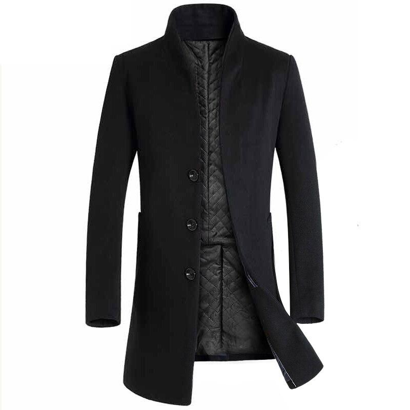 Man Wool Jacket Design Trench Coat Windbreaker Formal Business Grey Breasted Button Male Trench Pockets Overcoat Men Woolen Coat