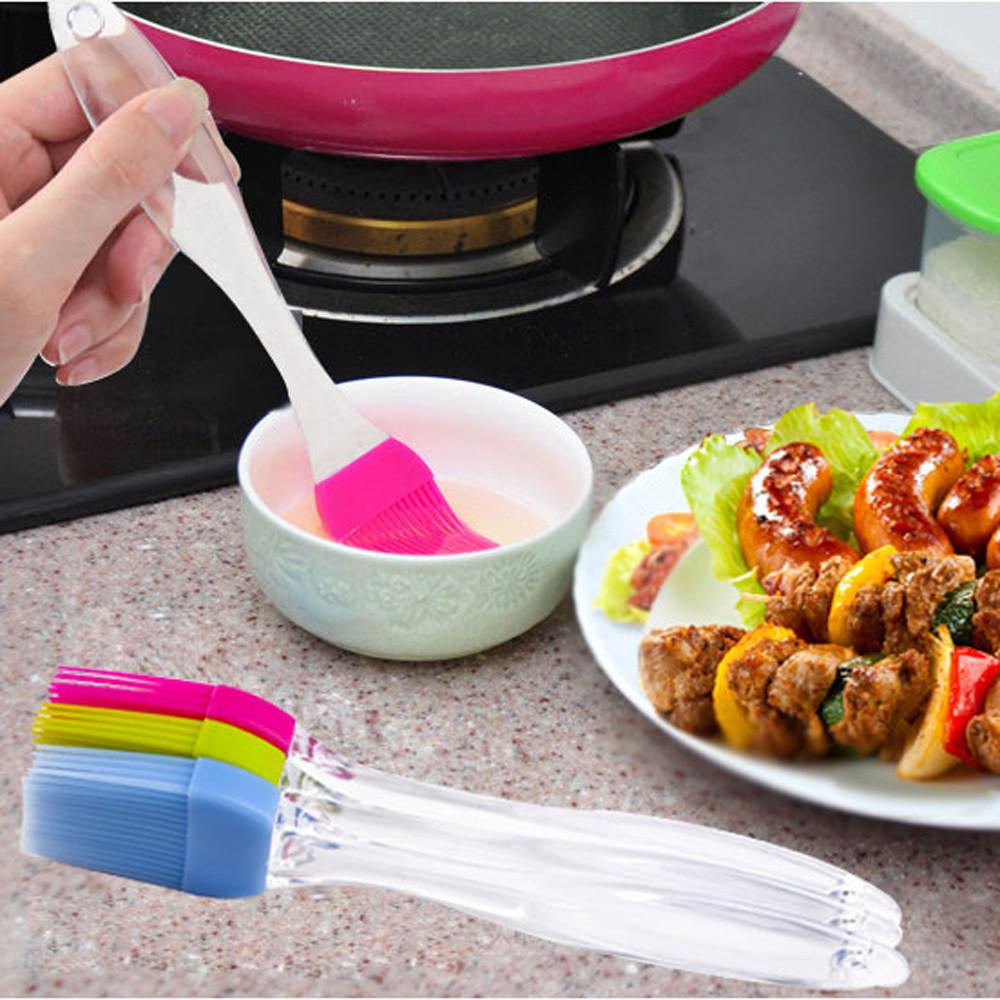 Baking Cream Brush Silicone Small Transparent Handle Multi-function High Temperature Barbecue Brush Cake Cream Tools